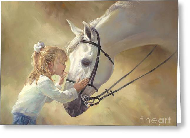 Blonde Girl Greeting Cards - Horse Kisses Greeting Card by Laurie Hein