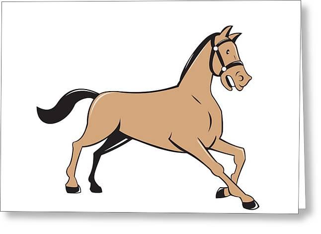 Knelt Digital Greeting Cards - Horse Kneeling Down Cartoon Greeting Card by Aloysius Patrimonio