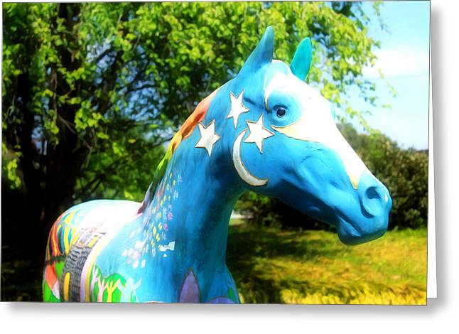 Statue Portrait Paintings Greeting Cards - Horse  Greeting Card by Lanjee Chee