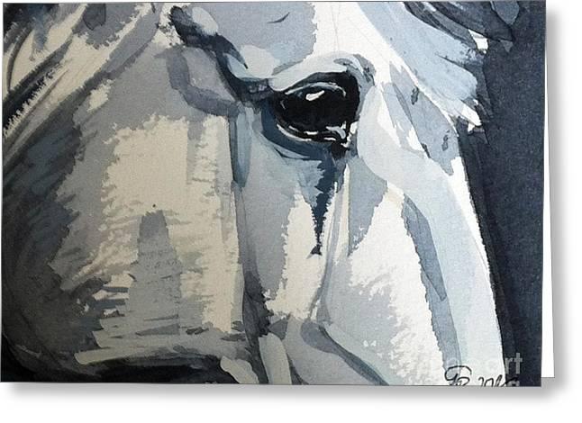 Modern Art Greeting Cards - Horse Look Closer Greeting Card by Go Van Kampen