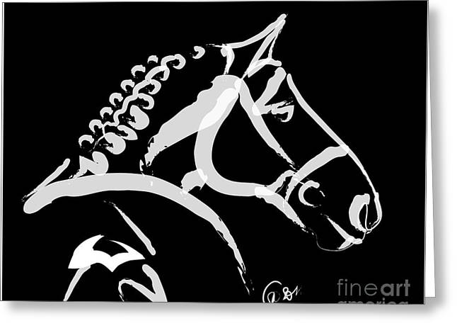 Visual Art Greeting Cards - Horse- Looking back Greeting Card by Go Van Kampen