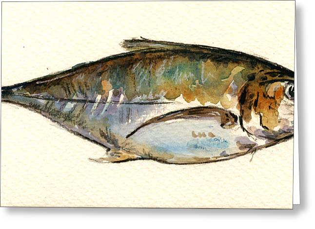 Atlantic Ocean Greeting Cards - Horse mackerel Greeting Card by Juan  Bosco