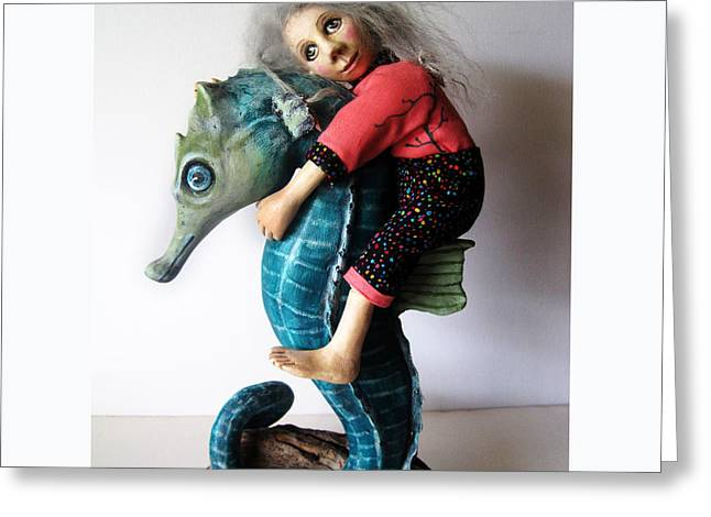 Doll Sculptures Greeting Cards - Horse of a Different Color Greeting Card by Linda Apple