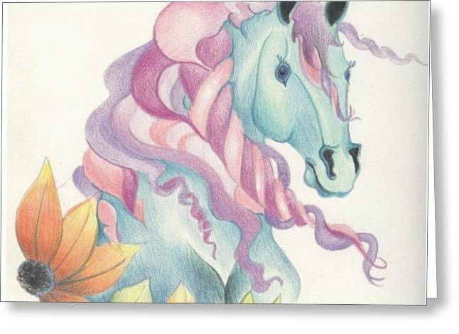 Forelock Drawings Greeting Cards - Horse of a Different Colour Greeting Card by Kirsten Slaney