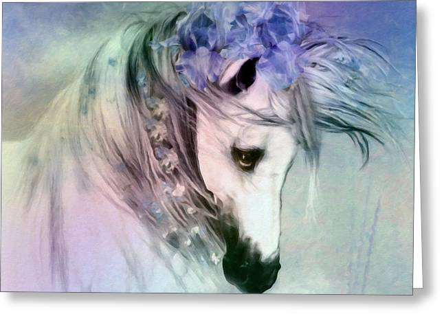 Wild Horses Mixed Media Greeting Cards - Horse Of Love Greeting Card by Georgiana Romanovna