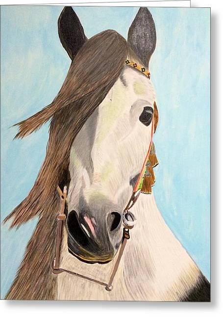 Horses Pyrography Greeting Cards - Horse Greeting Card by Olga Komlev