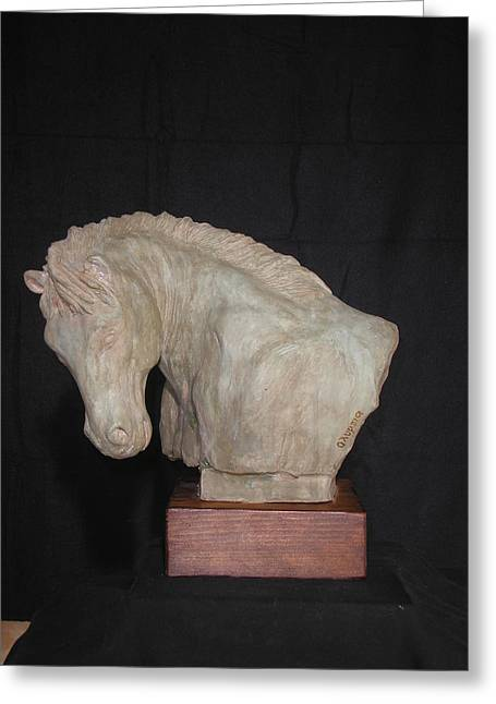 Sculpture. Ceramics Greeting Cards - Horse Greeting Card by Olympia Letsiou