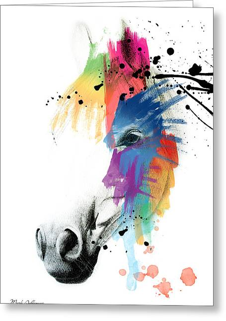 Humor Greeting Cards - Horse On Abstract   Greeting Card by Mark Ashkenazi