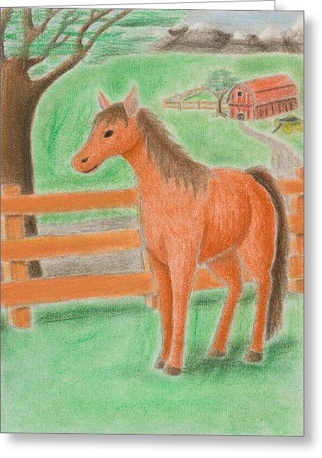 Horse On Farm Greeting Card by Jeanette K