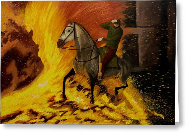 Knighthood Paintings Greeting Cards - Horse On The Fire Greeting Card by Manuel Lopez