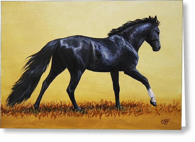 Horse Painting - Black Beauty Greeting Card by Crista Forest