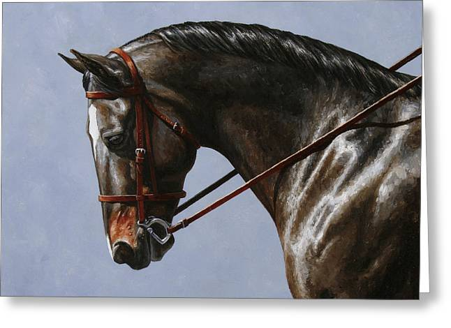 Bay Horse Greeting Cards - Horse Painting - Discipline Greeting Card by Crista Forest