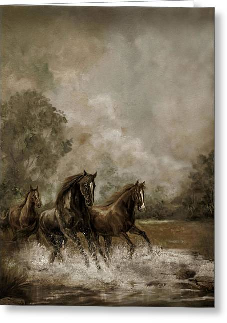 Horse Painting Escaping The Storm Greeting Card by Regina Femrite