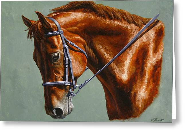 Chestnut Horse Greeting Cards - Horse Painting - Focus Greeting Card by Crista Forest