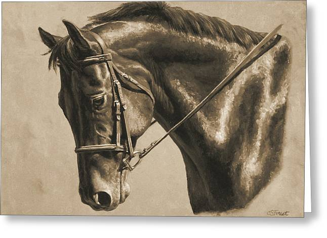 Brown Horse Greeting Cards - Horse Painting - Focus In Sepia Greeting Card by Crista Forest