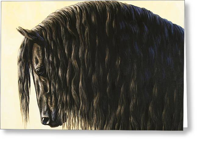 Friesian Greeting Cards - Horse Painting - Friesland Nobility Greeting Card by Crista Forest