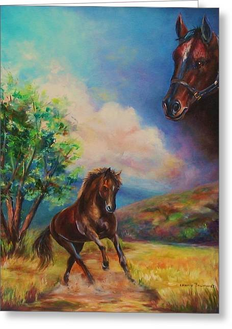 Hores Greeting Cards - Horse painting running free Greeting Card by Laurine Baumgart