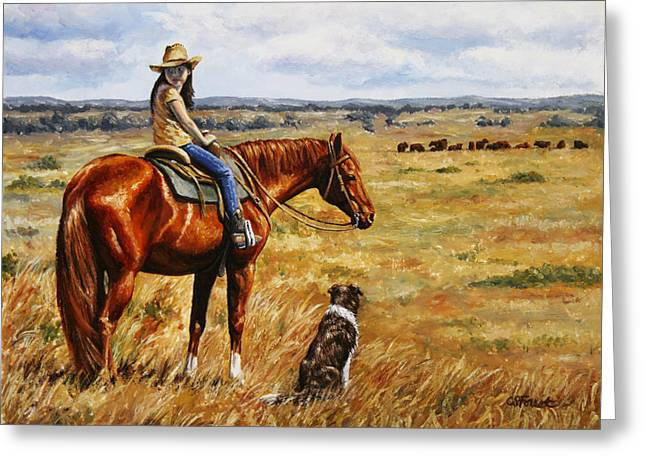 Cowgirl Greeting Cards - Horse Painting - Waiting for Dad Greeting Card by Crista Forest