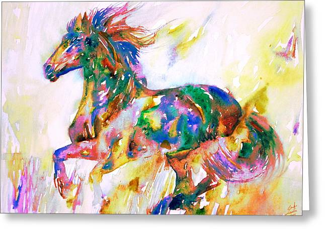 Horse Images Greeting Cards - Horse Painting.1 Greeting Card by Fabrizio Cassetta
