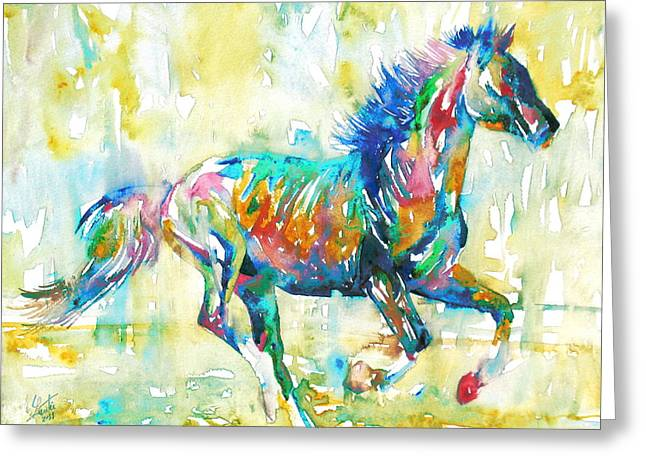 Horse Images Paintings Greeting Cards - Horse Painting.11 Greeting Card by Fabrizio Cassetta