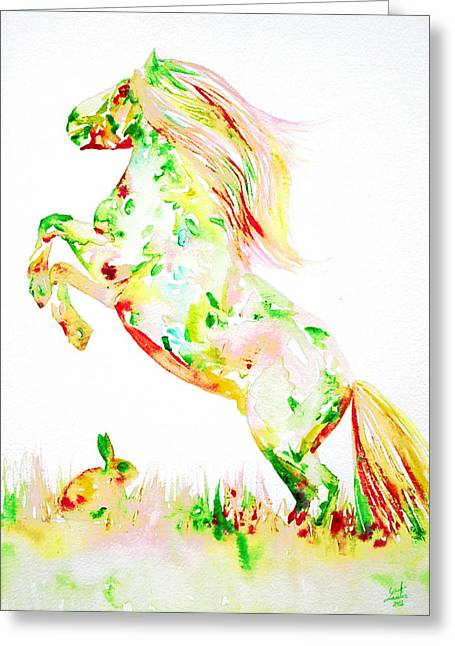 Rearing Up Greeting Cards - Horse Painting.13 Greeting Card by Fabrizio Cassetta