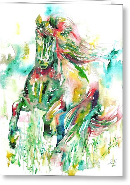 Horse Images Paintings Greeting Cards - Horse Painting.14 Greeting Card by Fabrizio Cassetta