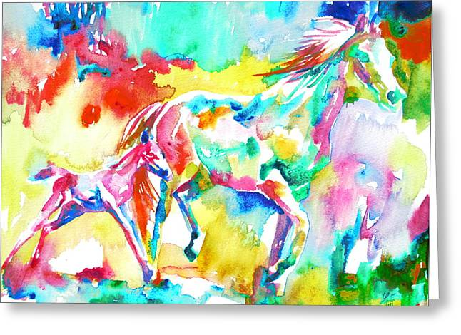 Horse Images Paintings Greeting Cards - Horse Painting.15 Greeting Card by Fabrizio Cassetta