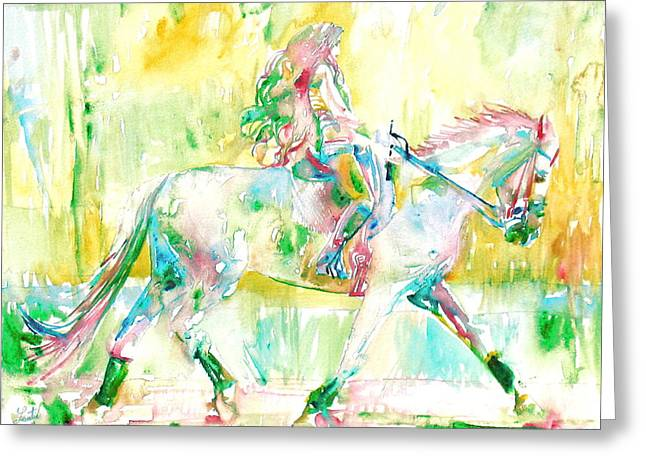 Horse Images Paintings Greeting Cards - Horse Painting.19 Greeting Card by Fabrizio Cassetta