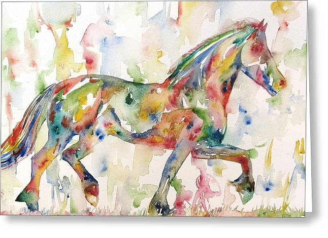 Horse Images Paintings Greeting Cards - Horse Painting.23 Greeting Card by Fabrizio Cassetta