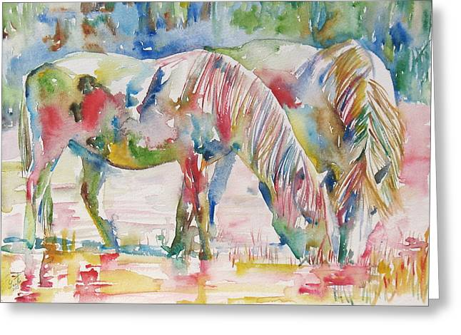 Horse Images Greeting Cards - Horse Painting.27 Greeting Card by Fabrizio Cassetta