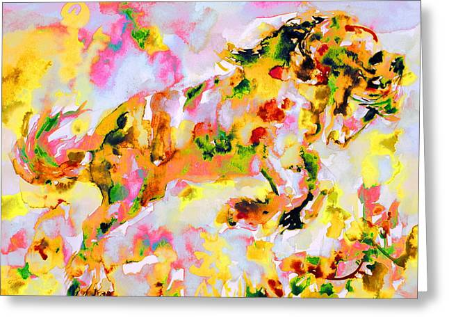 Rearing Up Greeting Cards - Horse Painting.7 Greeting Card by Fabrizio Cassetta