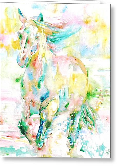 Horse Images Paintings Greeting Cards - Horse Painting.9 Greeting Card by Fabrizio Cassetta