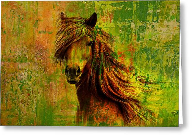 Yellow Brown Greeting Cards - Horse paintings 001 Greeting Card by Catf