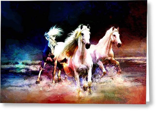 Yellow Brown Greeting Cards - Horse paintings 002 Greeting Card by Catf