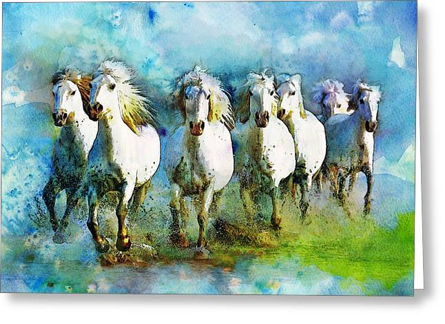 Hare Greeting Cards - Horse Paintings 006 Greeting Card by Catf