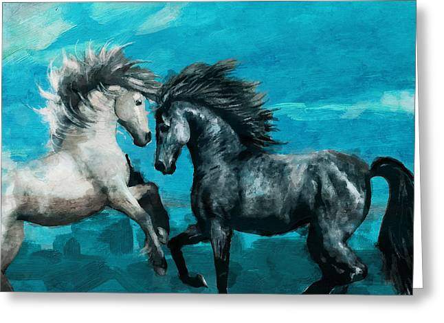 Morrocon Horses Greeting Cards - Horse paintings 011 Greeting Card by Catf