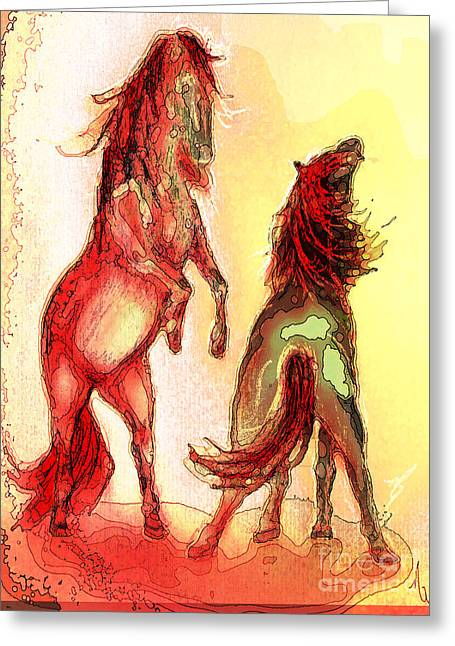 Lounge Paintings Greeting Cards - Horse Play Greeting Card by Michelle Rene Goodhew