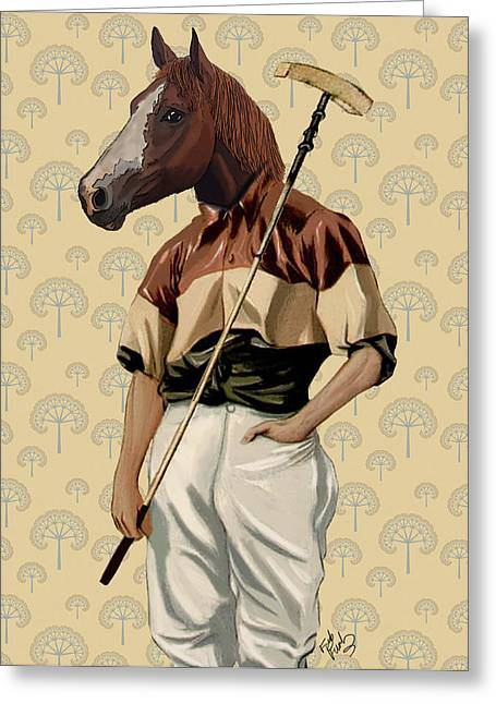 Sports Framed Prints Greeting Cards - Horse Polo Player Portrait Greeting Card by Kelly McLaughlan