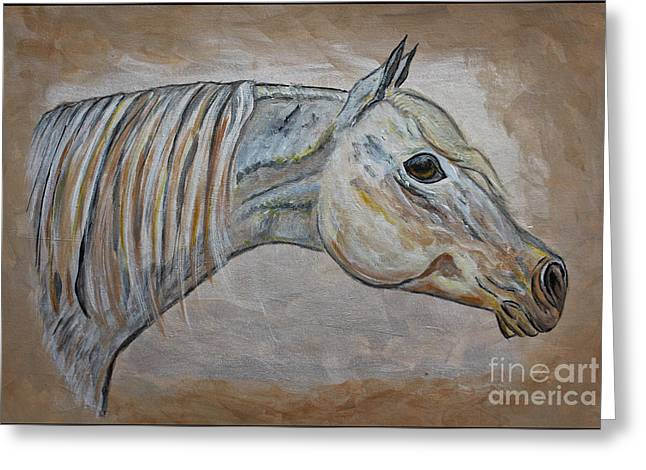 Quarter Horse Mixed Media Greeting Cards - Horse Portrait - Gentle Spirit Greeting Card by Ella Kaye Dickey