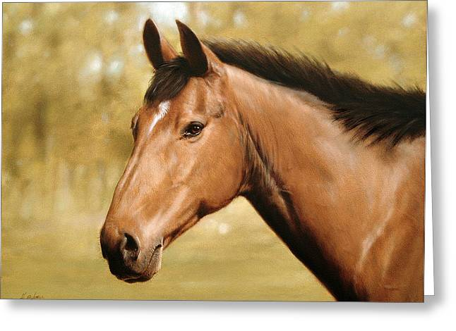 Horse portrait II Greeting Card by John Silver