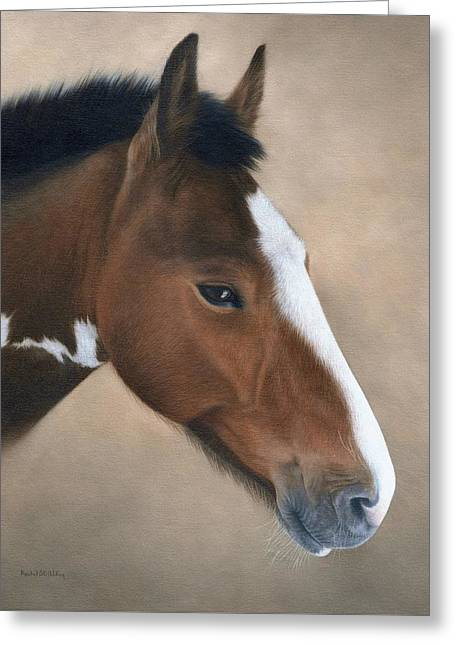 Domestic Pets Greeting Cards - Horse Portrait Painting Greeting Card by Rachel Stribbling