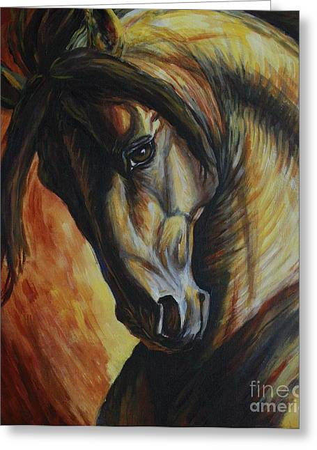 Horses Art Print Greeting Cards - Horse Power Greeting Card by Silvana Gabudean