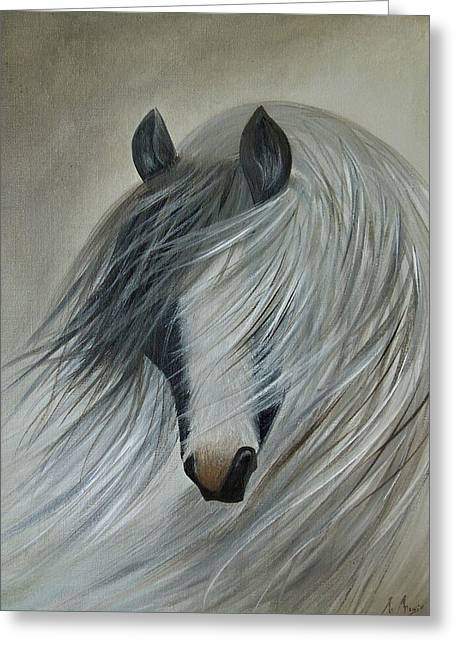 Storm Prints Digital Art Greeting Cards - Horse Print Greeting Card by Megan Morris