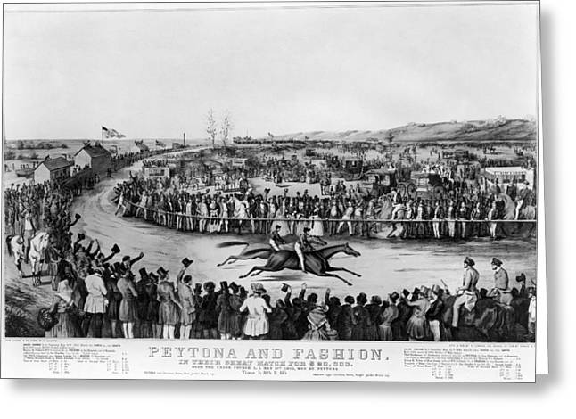 Horse Race, 1845 Greeting Card by Granger