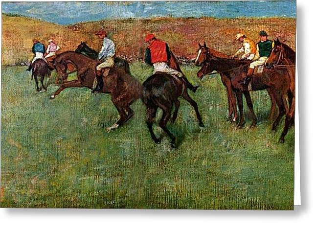 Before The Races Greeting Cards - Horse Race before the start Greeting Card by Edgar Degas