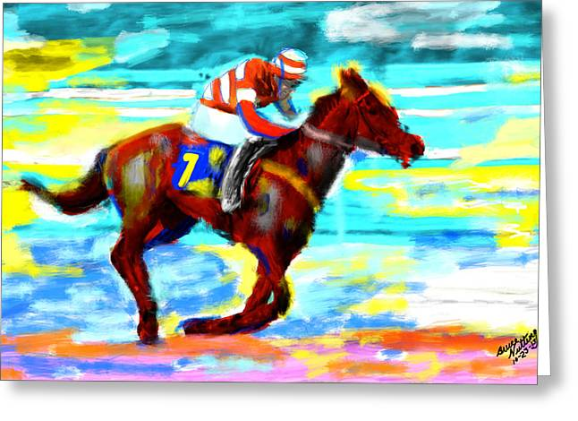 Race Horse Greeting Cards - Horse Race Greeting Card by Bruce Nutting