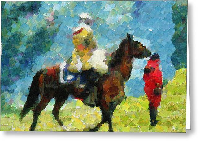 Chevalier Mixed Media Greeting Cards - Horse Racer Knight Greeting Card by Dana Hermanova