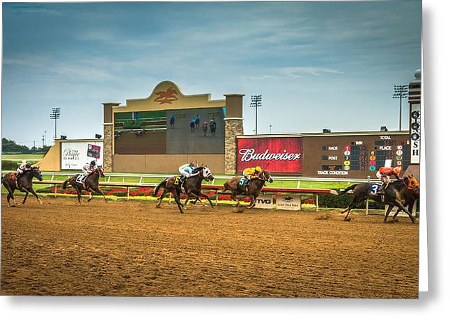 Race Horse Greeting Cards - Horse Races at Lone Star Park  Greeting Card by Robert Bellomy