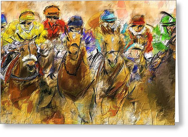 Race Horse Greeting Cards - Horse Racing Abstract Greeting Card by Lourry Legarde