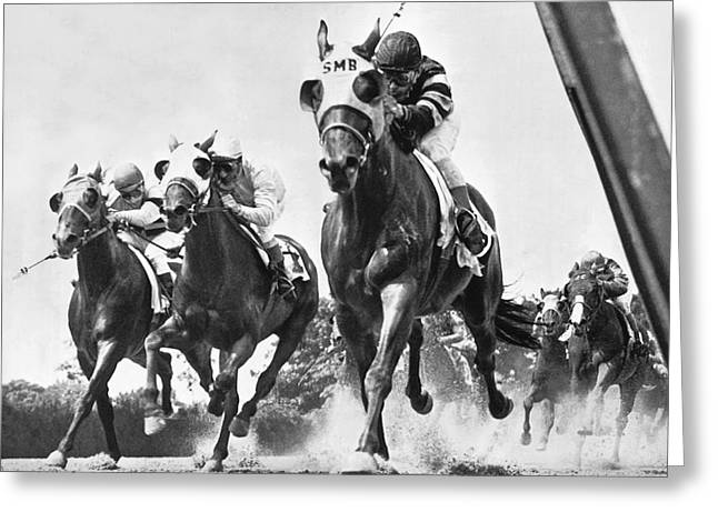 Race Horse Greeting Cards - Horse Racing At Belmont Park Greeting Card by Underwood Archives